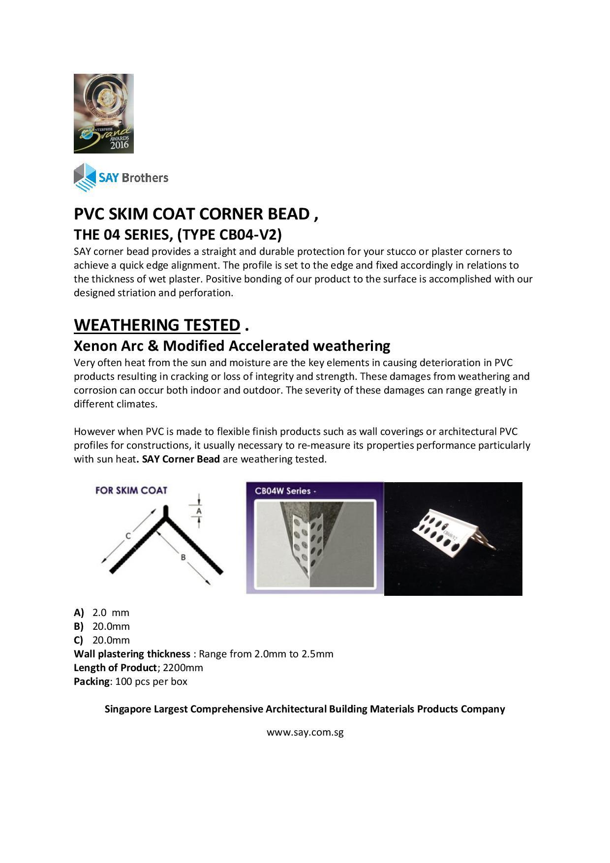 corner Bead cb04-v2 catalog
