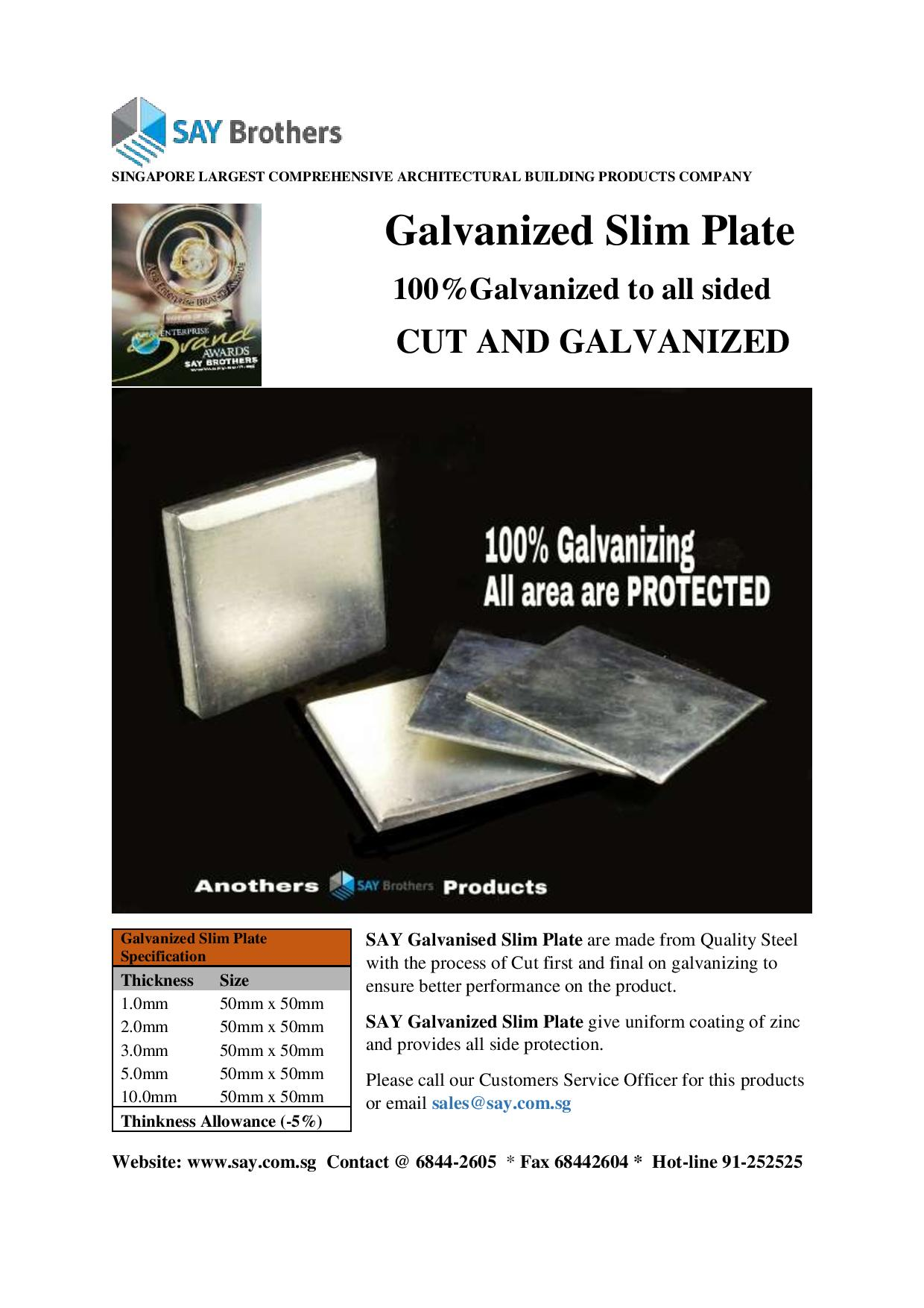 Galvanized Slim Plate