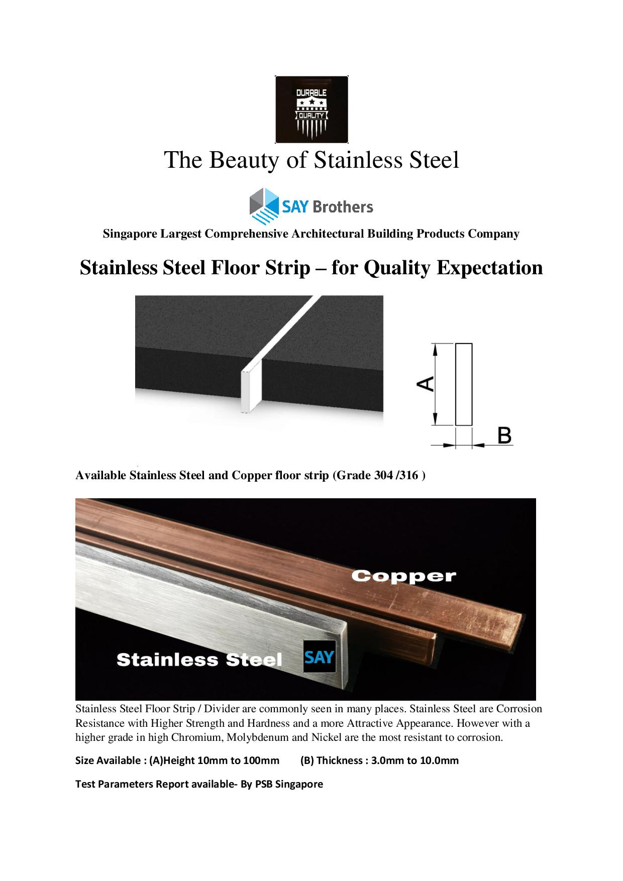 Stainless Steel Floor Strip