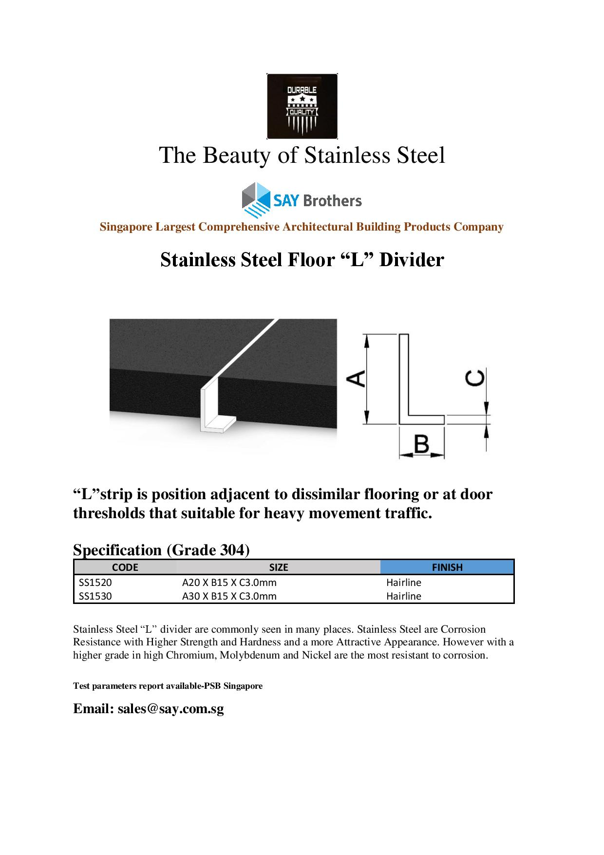 Stainless sSteel L Divider