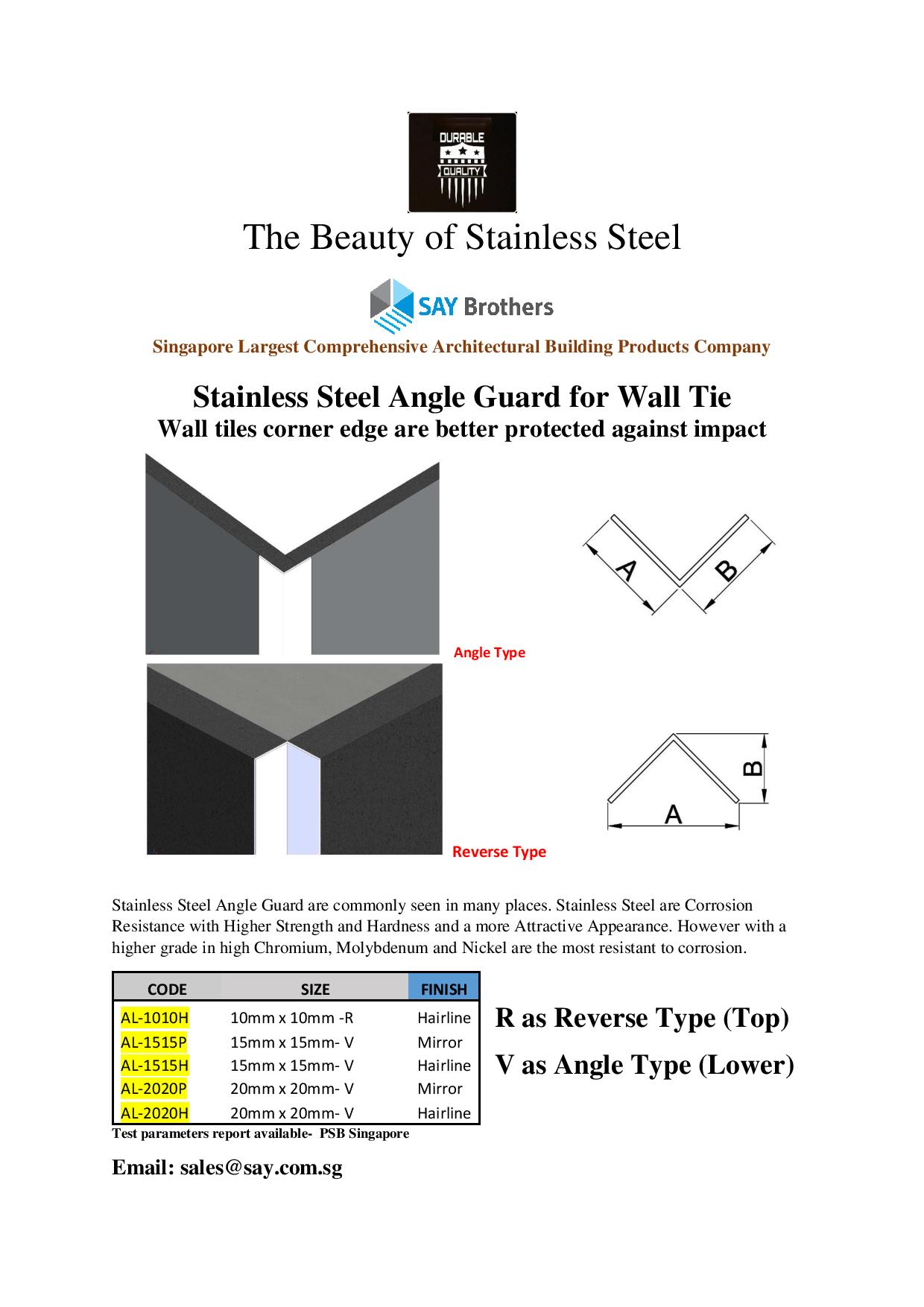 Stainless Steel Angle Guards
